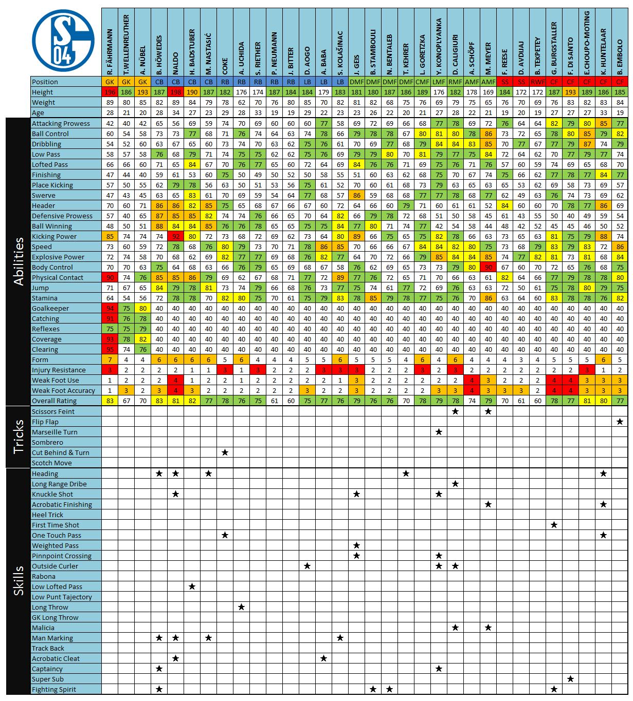 FC Schalke Teamchart